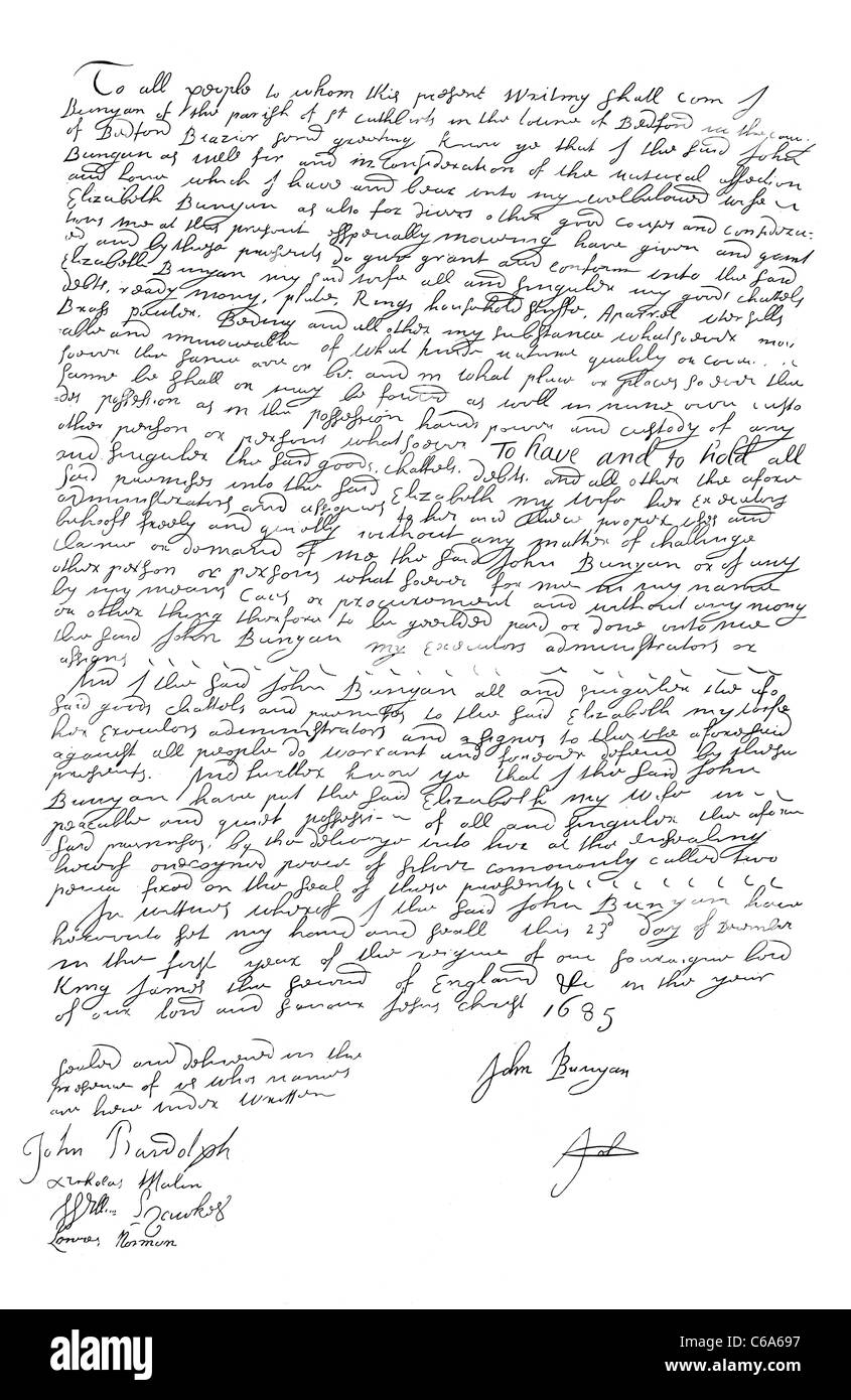 Facsimile of the Will of John Bunyan dated 23 December 1685; Preacher and Writer; Author of Pilgrim's Progress; - Stock Image