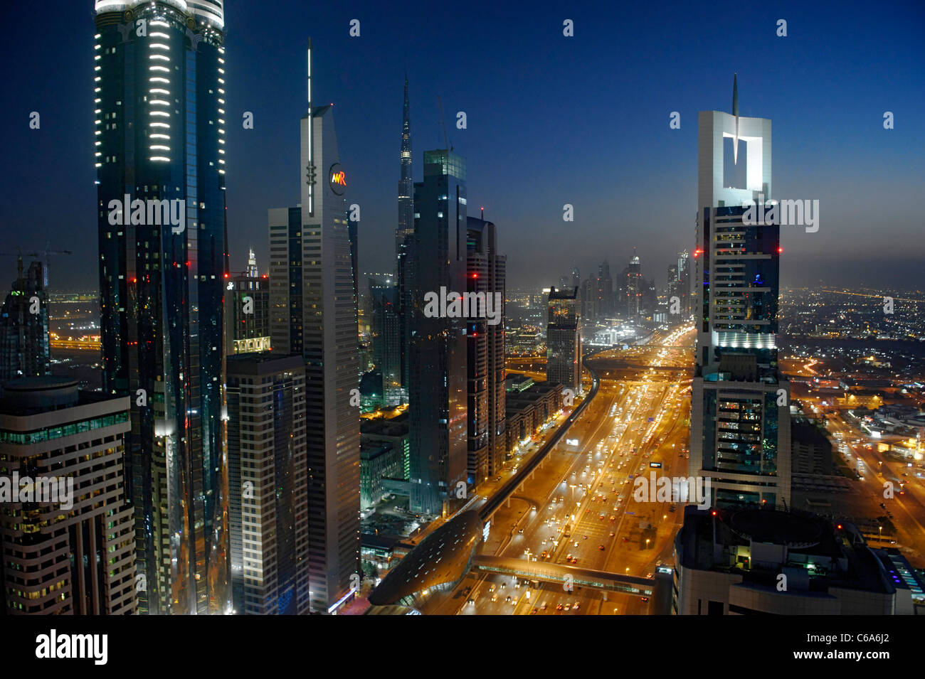 Evening at the Persian Gulf, traffic, city, downtown Dubai, Dubai, United Arab Emirates, Middle East Stock Photo