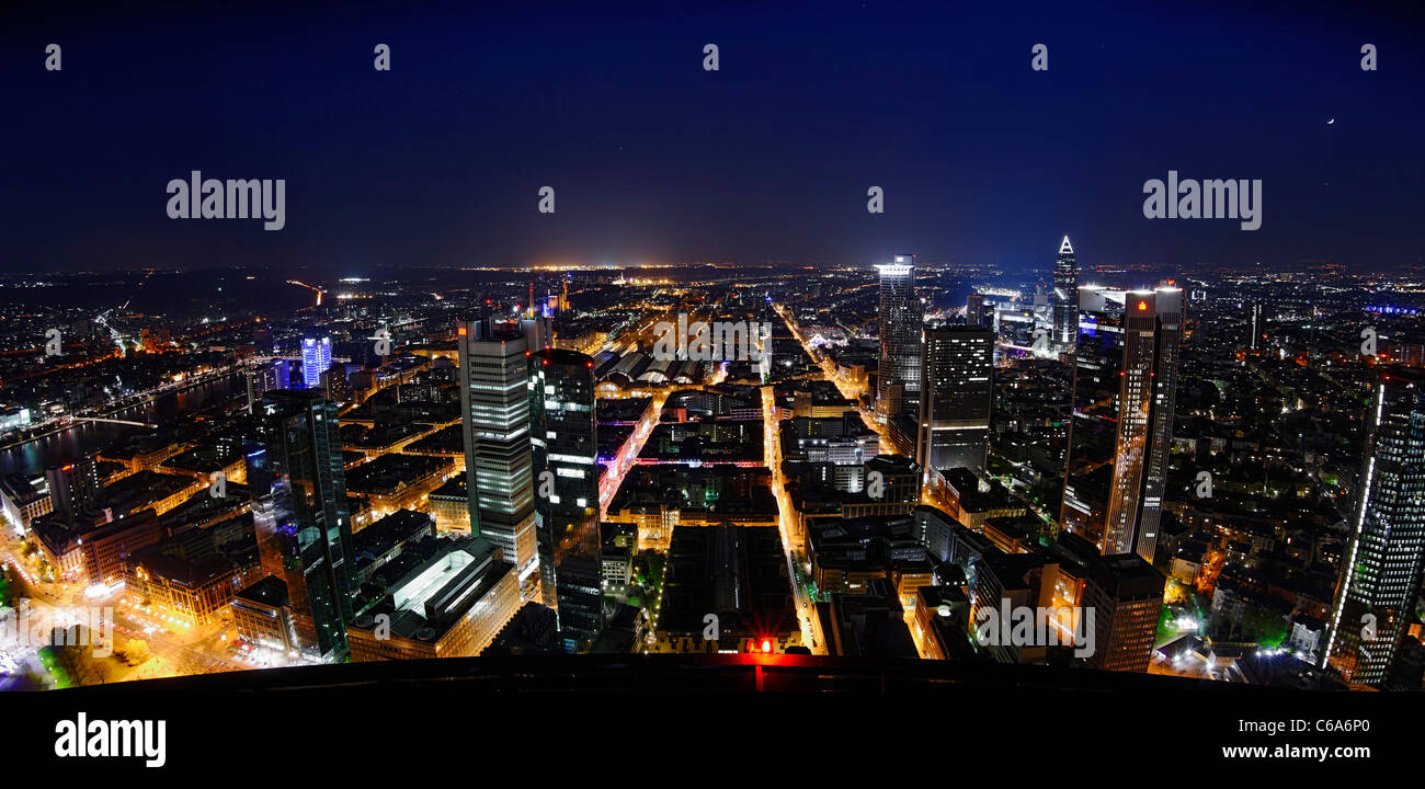 Panoramic view from the Main Tower across Frankfurt am Main at night, colourful lights, illumination Frankfurt am Stock Photo