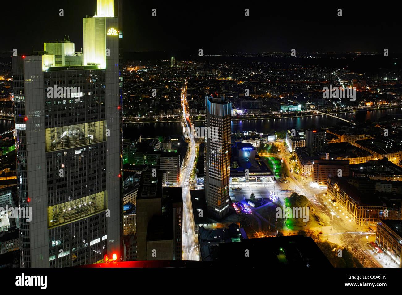 Panoramic view from the Main Tower across Frankfurt am Main at night, colourful lights, illumination Frankfurt am - Stock Image