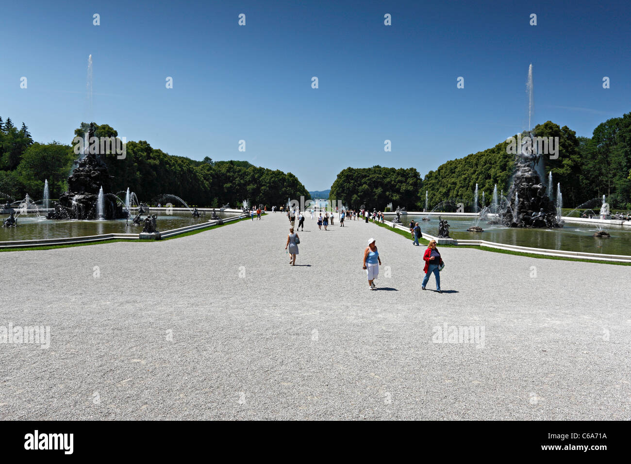 Fortuna and Fama Fountains with view to the Chiemsee, Herreninsel Upper Bavaria Germany - Stock Image