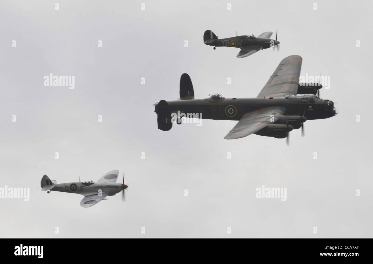 Royal Air Forces Association Battle of Britain Air show Shoreham Airport UK Lancaster bomber Spitfire and Hurricane - Stock Image
