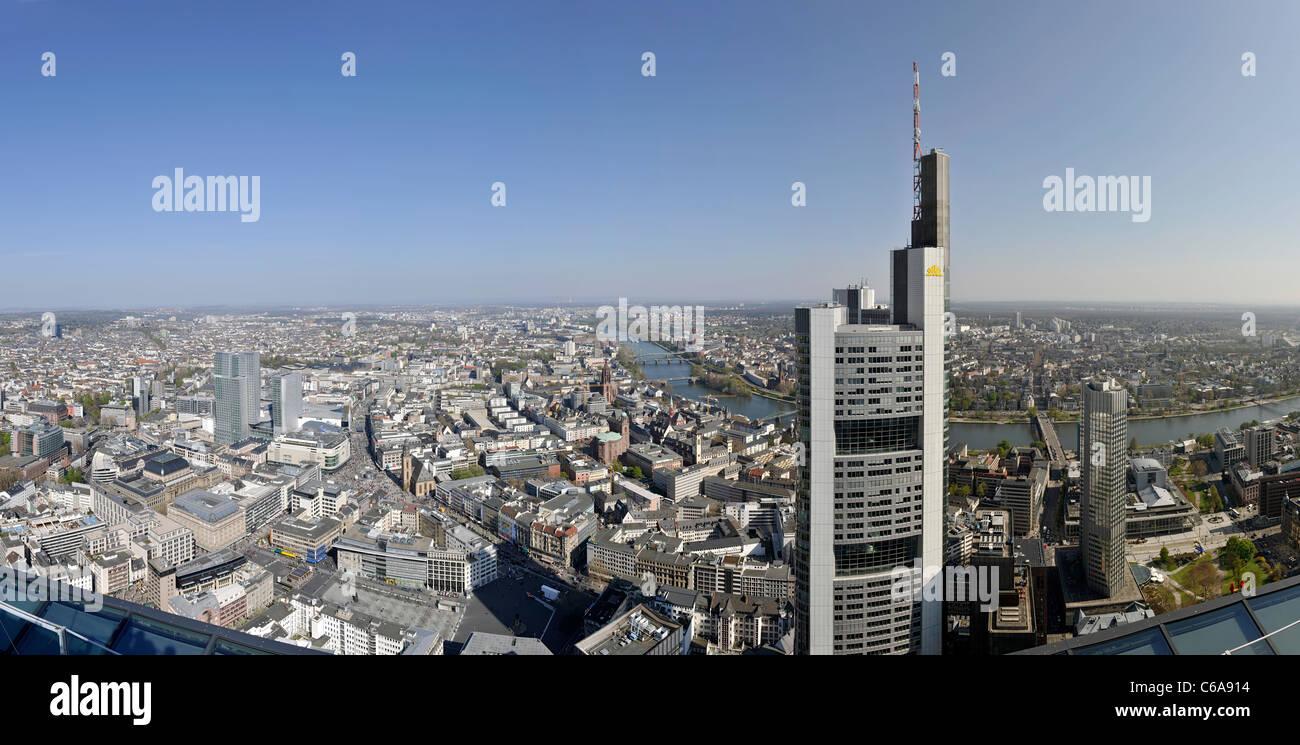 Panorama, facing south, Sachsenhausen, Main Tower, Frankfurt am Main, Hesse, Germany, Europe - Stock Image