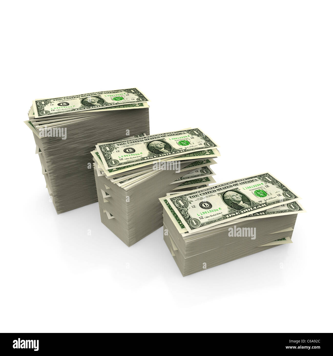 Dollar bills stack in descending piles - Stock Image