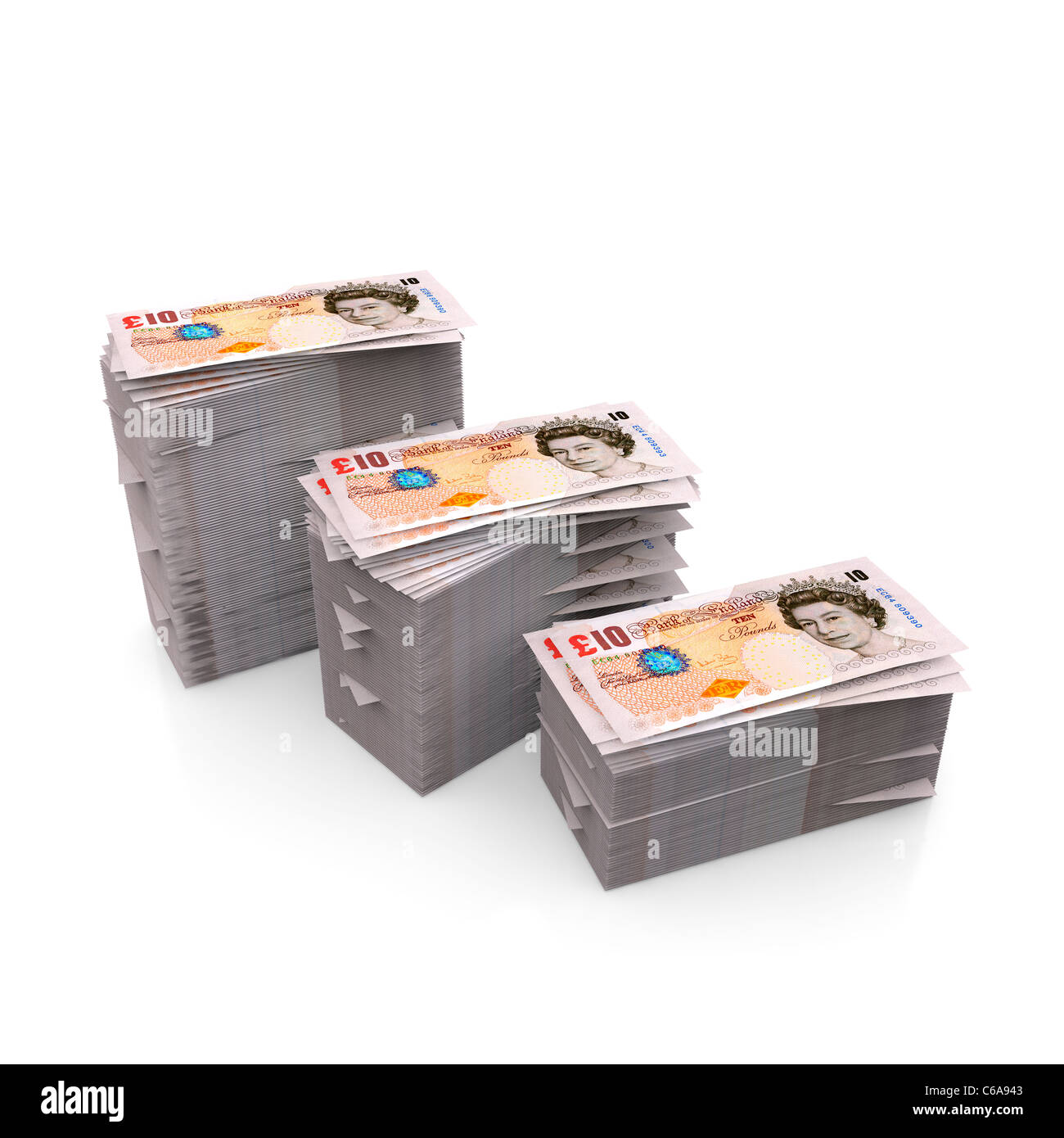 Stake of British GBP money,  sterling notes piles, UK - Stock Image