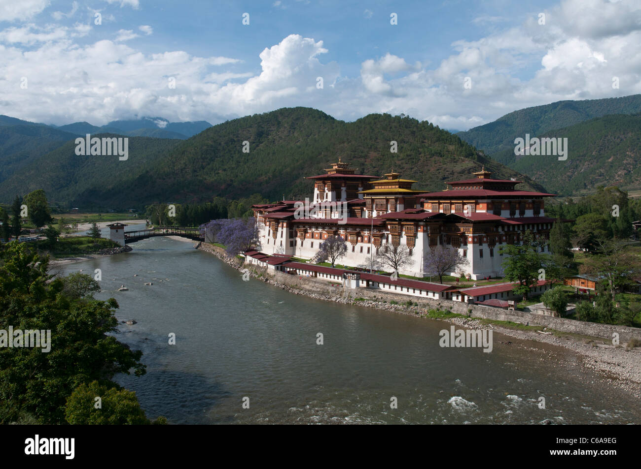view of the Dzong in Punakha. bhutan - Stock Image