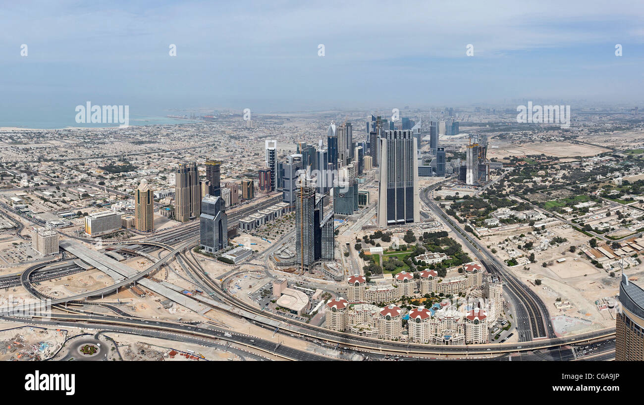 View of Dubai SHEIK ZAYED ROAD, from the highest observation deck in the world, AT THE TOP, Burj Khalifa, Dubai - Stock Image