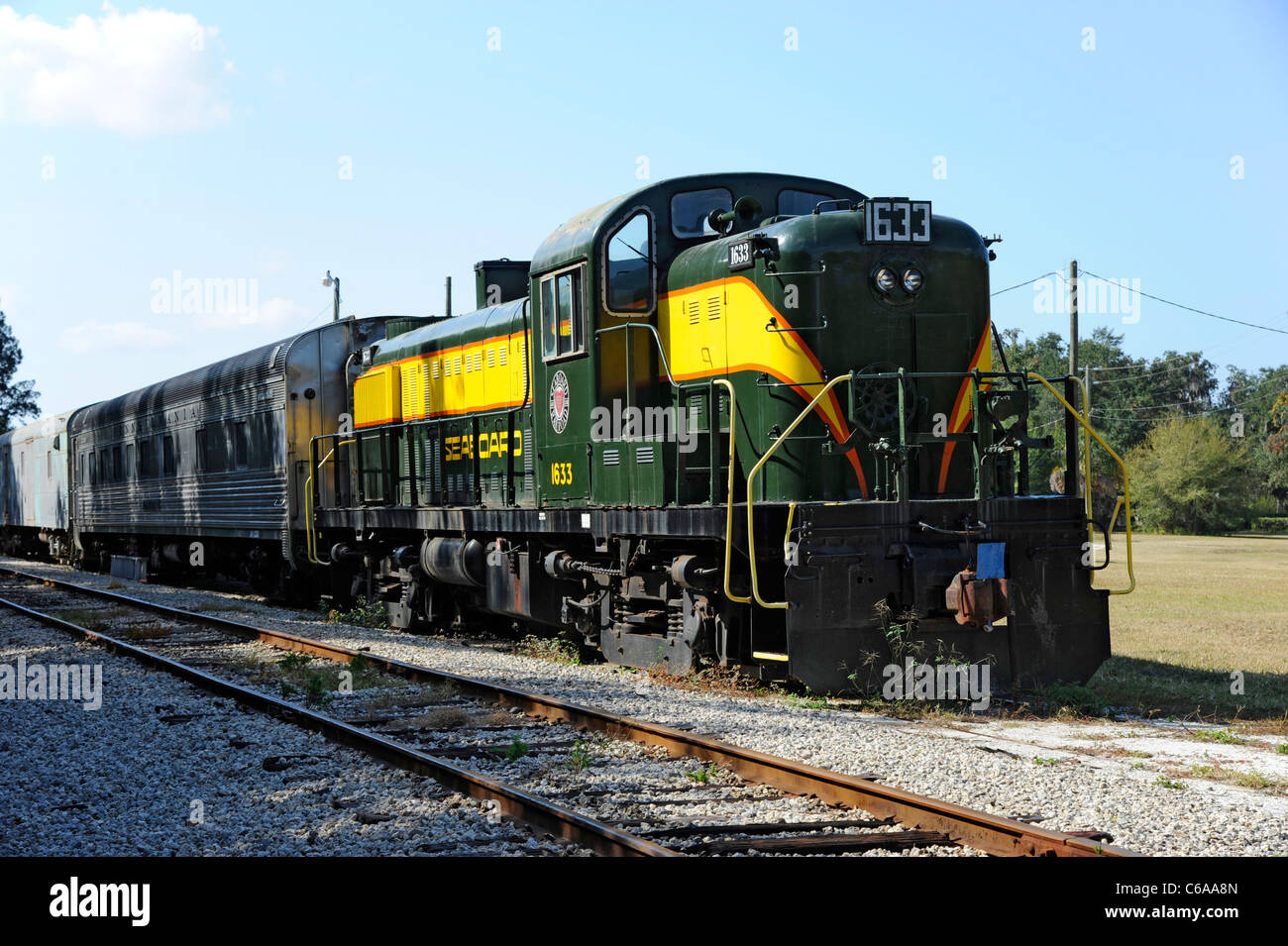 Seaboard diesel locomotive train 1633 Florida Railroad Museum Parrish Florida - Stock Image
