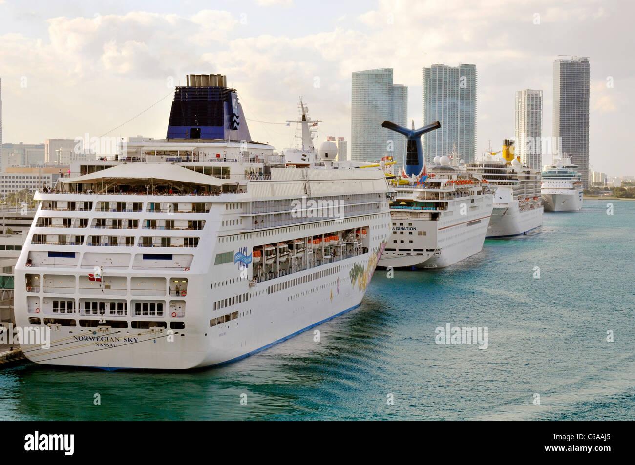 Cruise ships line harbor in Miami Florida - Stock Image