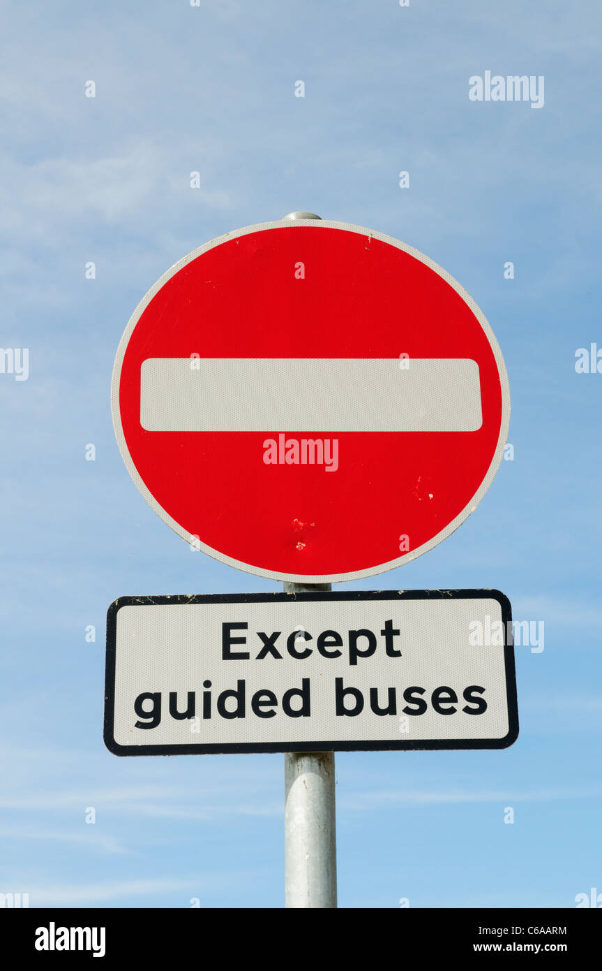 No Entry Except Guided Buses Sign, Fen Drayton, Cambridgeshire, England, UK - Stock Image