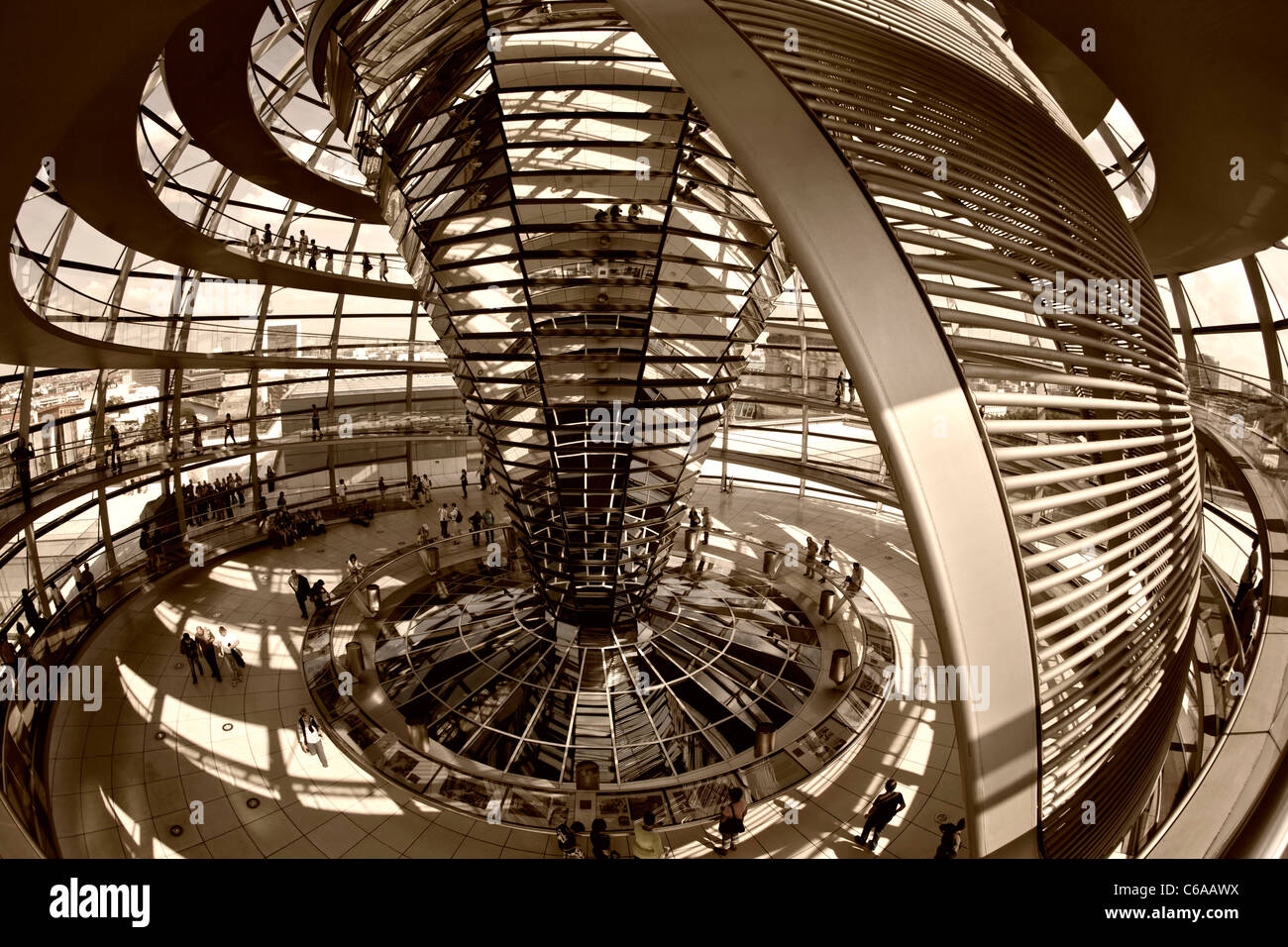 Reichstag buidling , roof top terasse cupola by Sir Norman Forster, Berlin,  - Stock Image