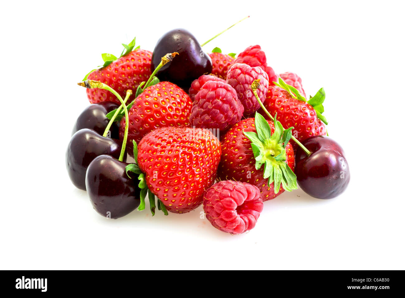 various types of red fruit - Stock Image