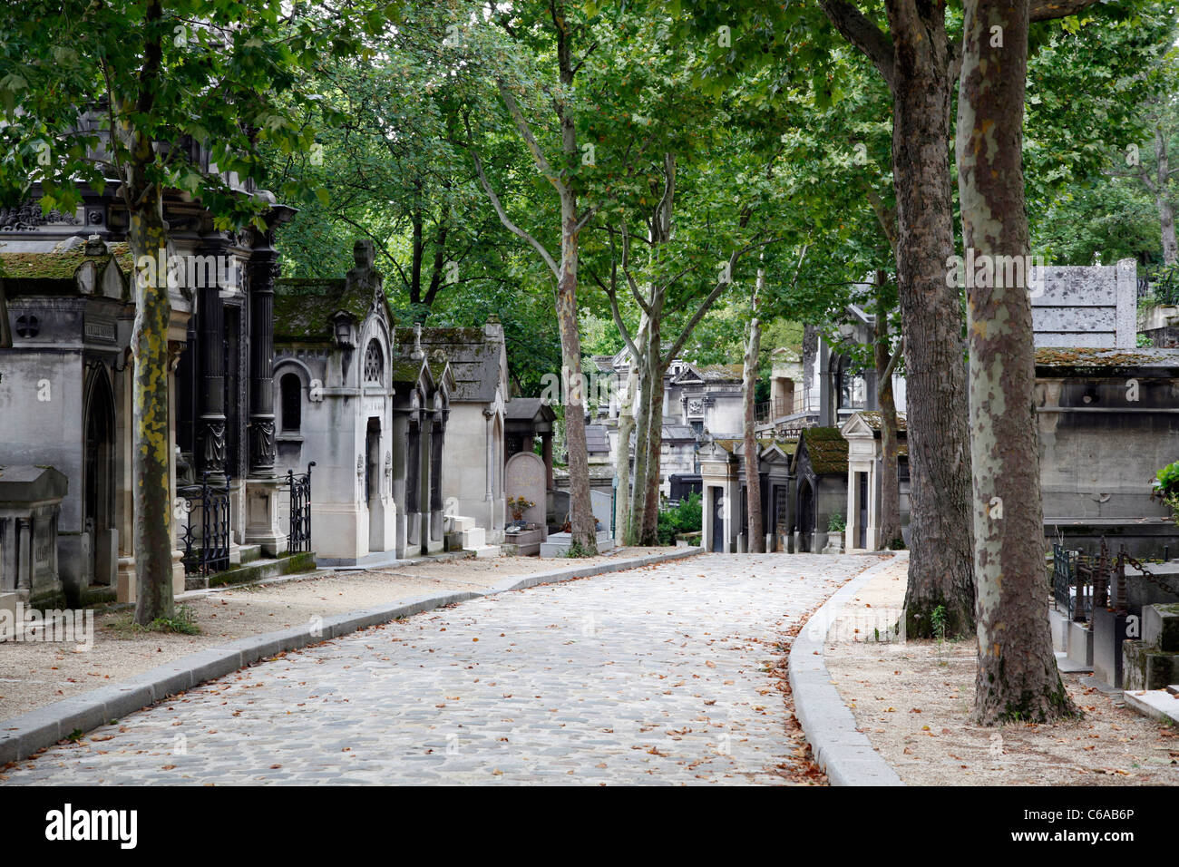 Mausoleums and graves in the graveyard at the Pere Lachaise cemetery in Paris, France Stock Photo