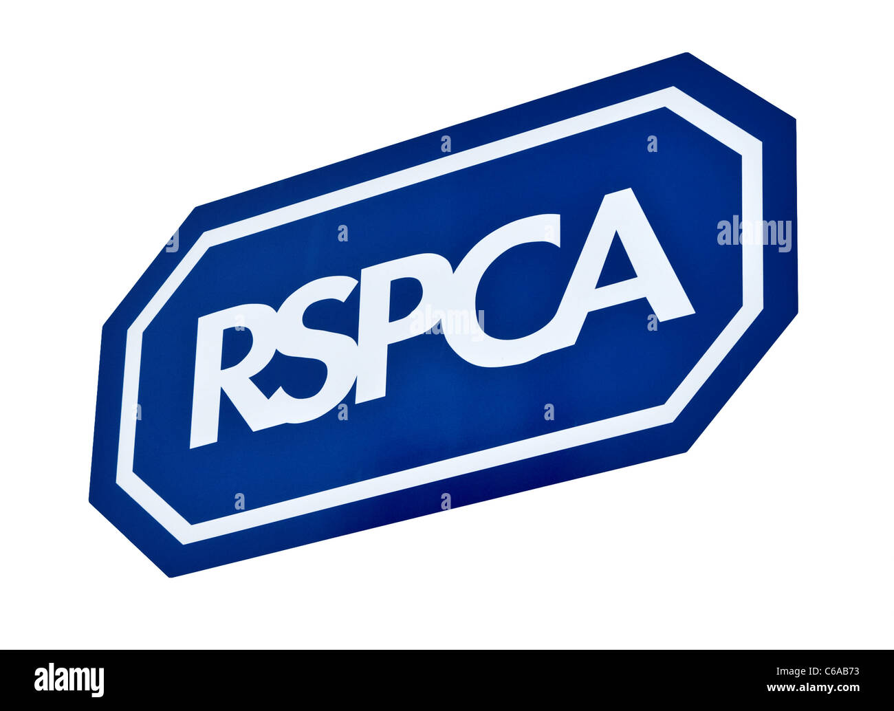 RSPCA sign cut out, UK. View from the front. Close up (macro) - Stock Image