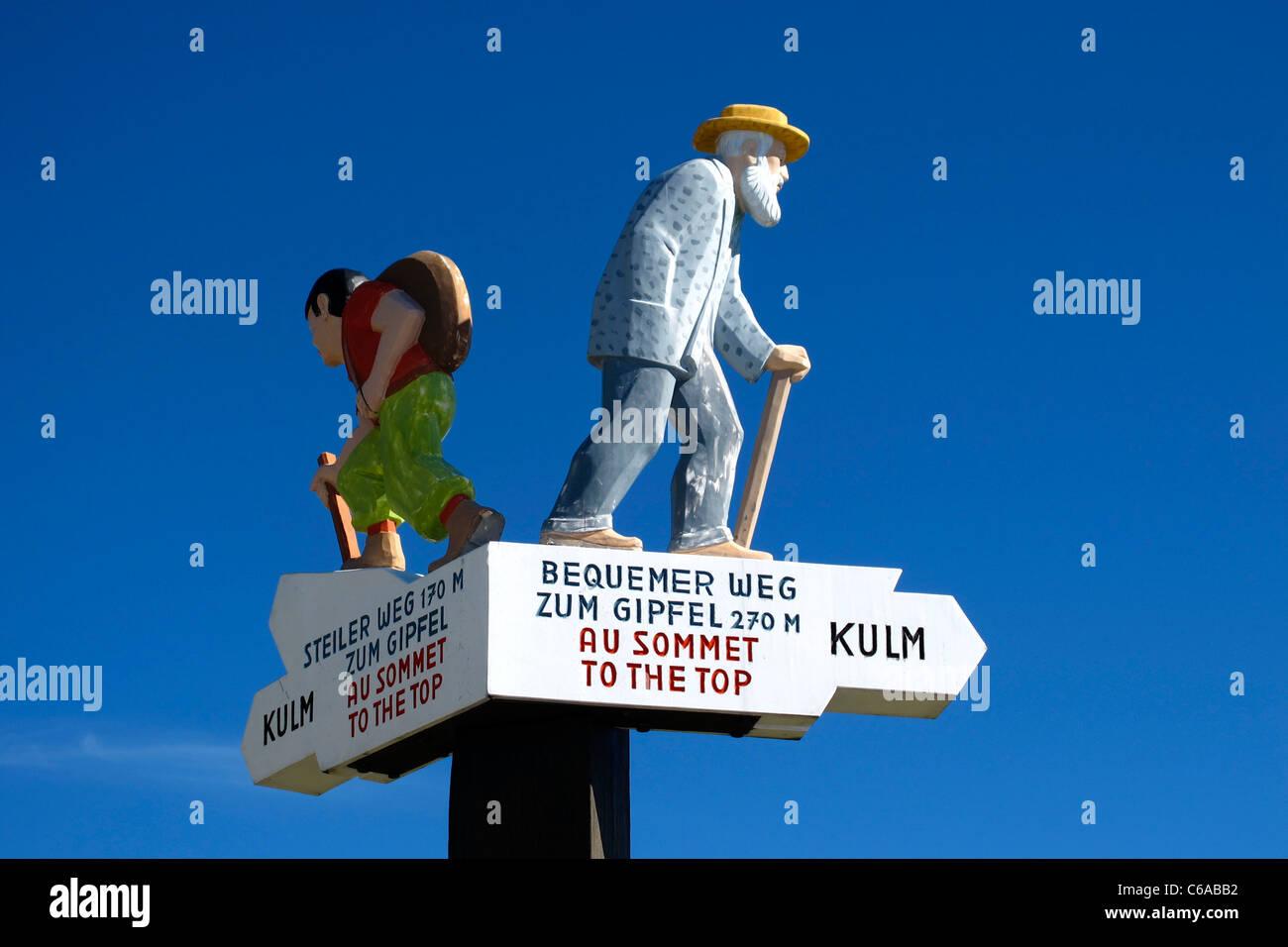 Sign for hiker at Rigi Kulm, Switzerland Stock Photo