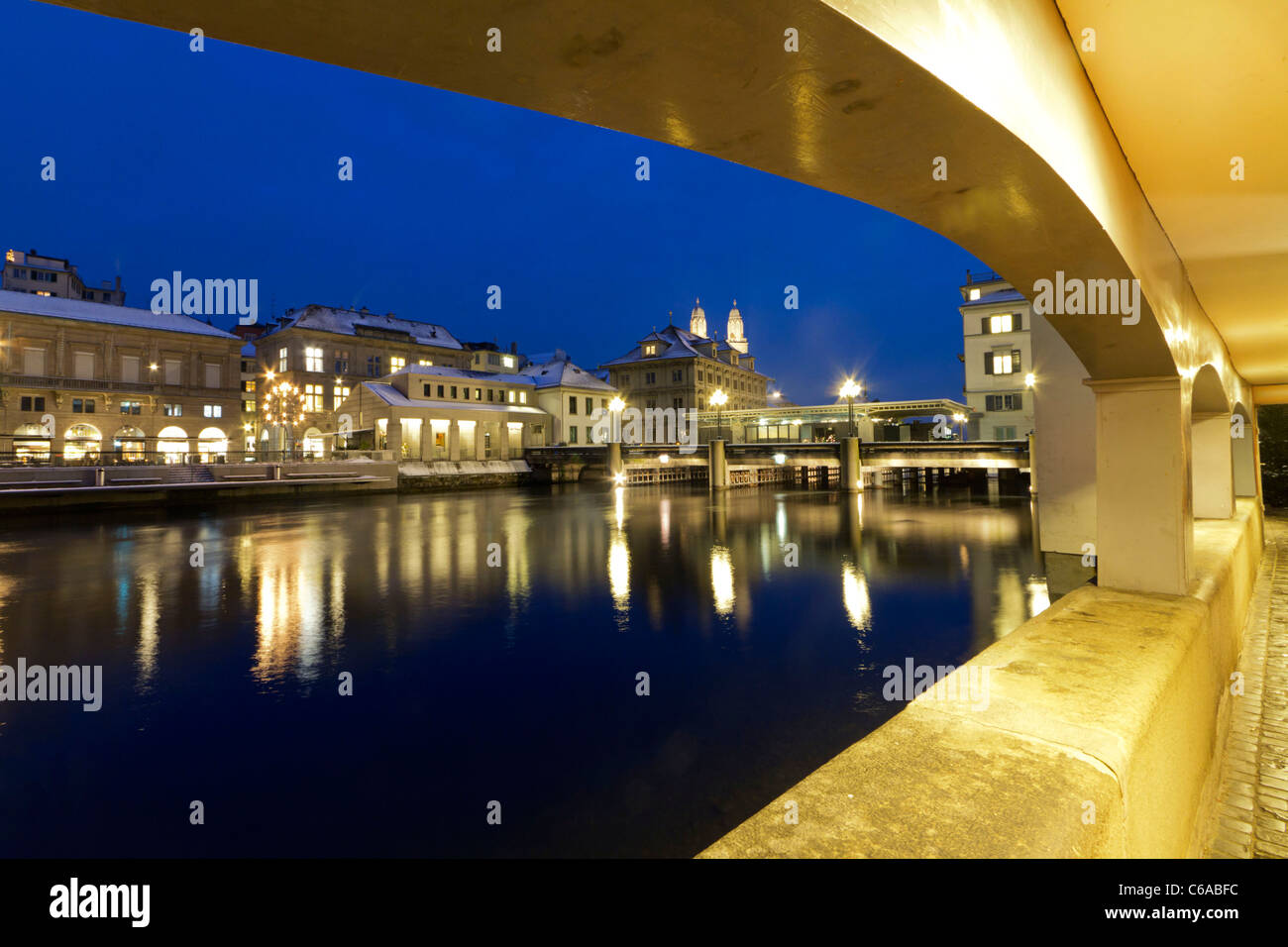 Acades at river Limmat, Zurich, Switzerland - Stock Image