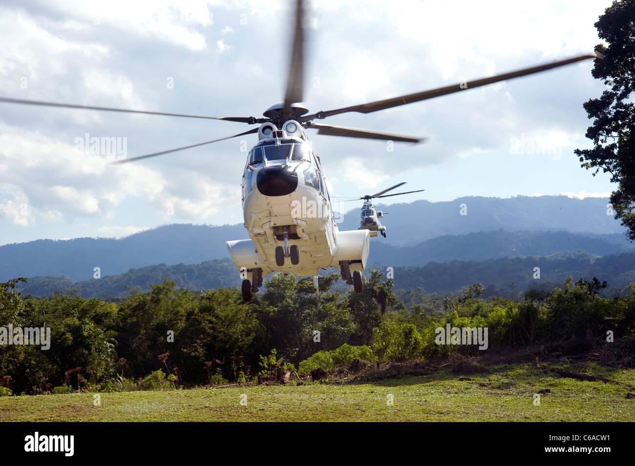 President Felipe Calderon's helicopter takes off from Metzabok, Mexico Stock Photo