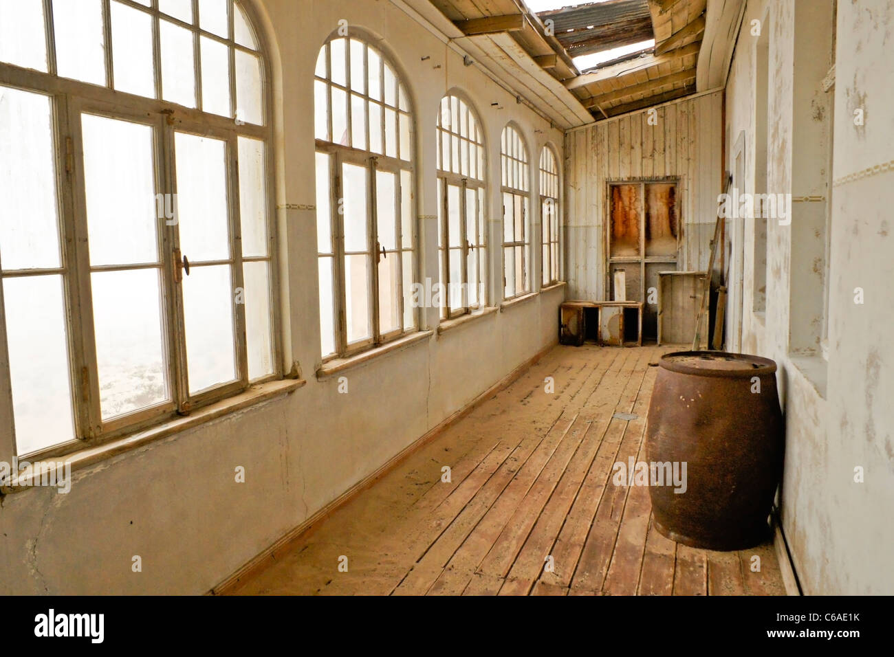 Old building in abandoned diamond mining town of Kolmanskop, Namibia - Stock Image