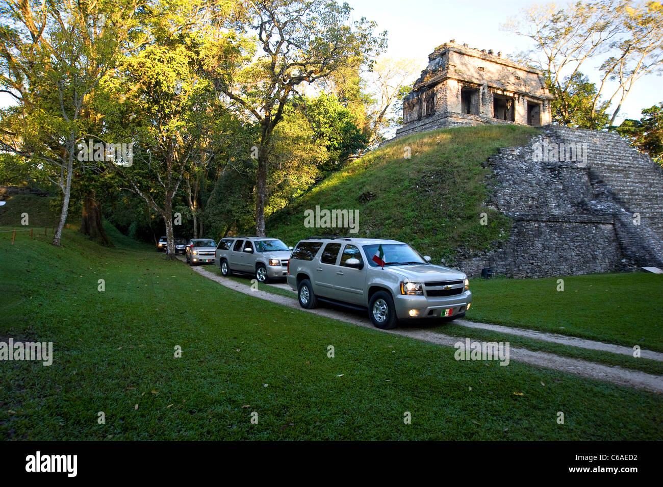 Presidential convoy  of Felipe Calderon arriving at Palenque - Stock Image
