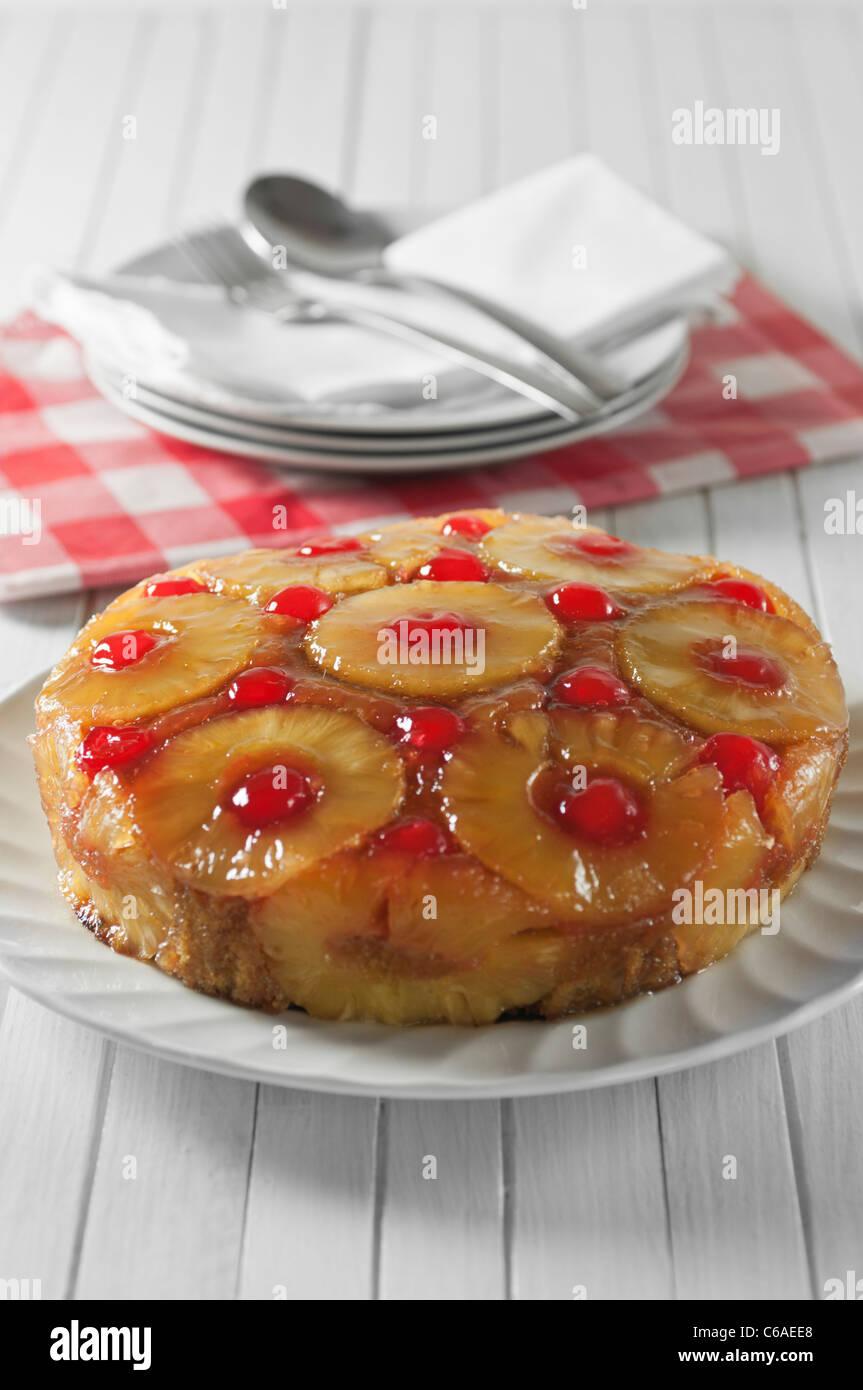 Pineapple upside down cake - Stock Image