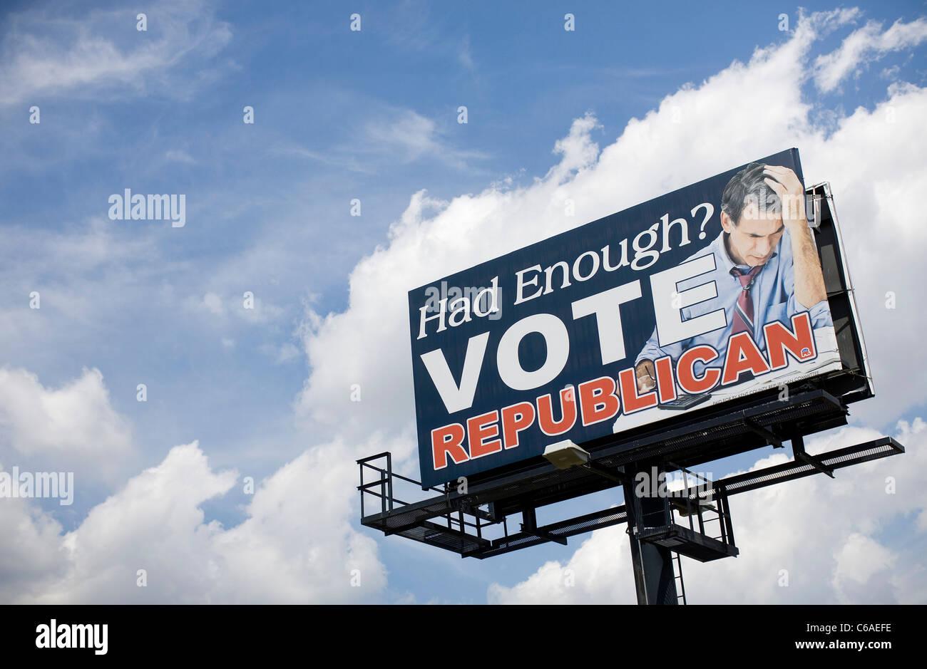 A Republican Party billboard.  - Stock Image