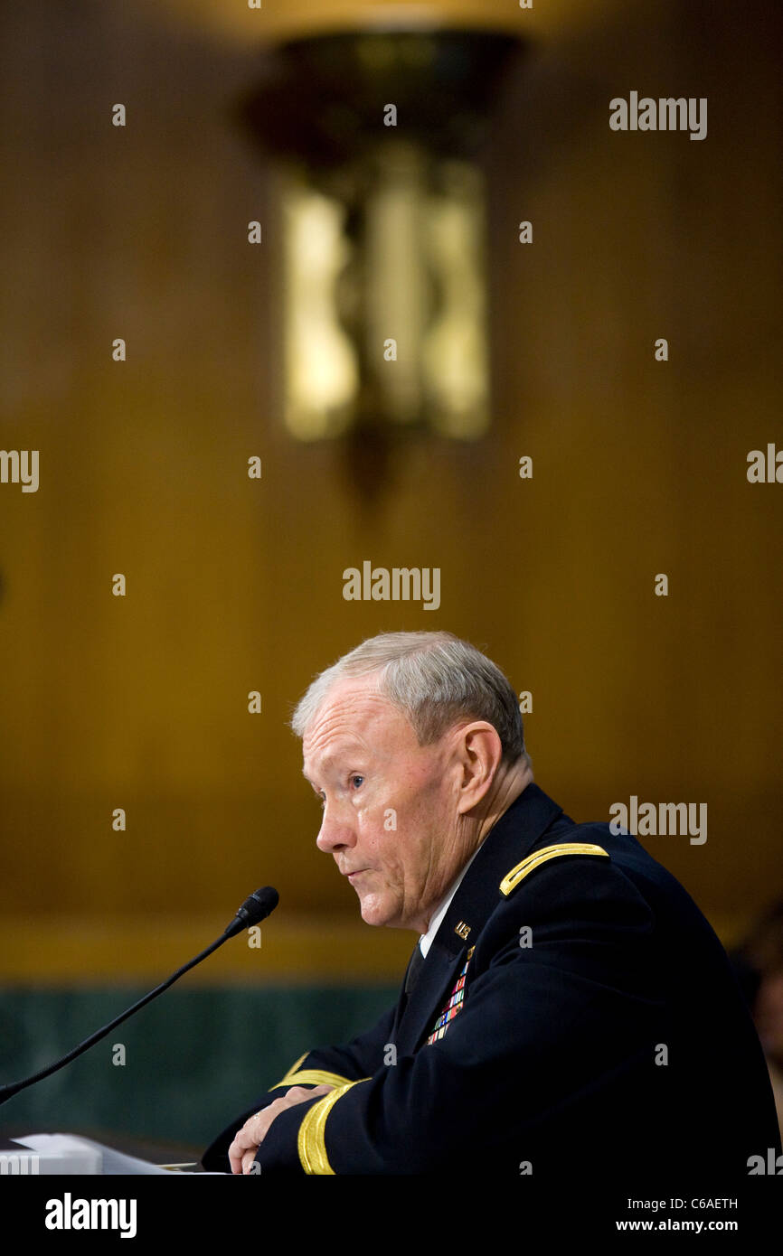 Army General Martin Dempsey during his Senate confirmation hearing to become Chairman of the Joint Chiefs of Staff. - Stock Image