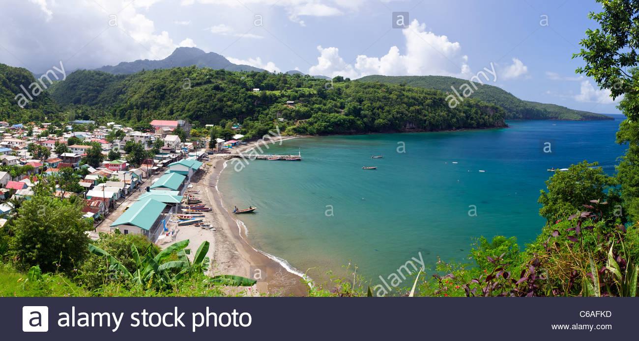 Panorama of Anse La Raye bay in St. Lucia Stock Photo