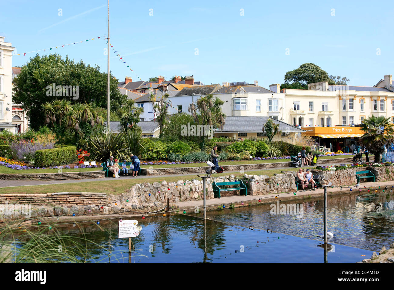 The Lawn and Brook at Dawlish in Devon - Stock Image