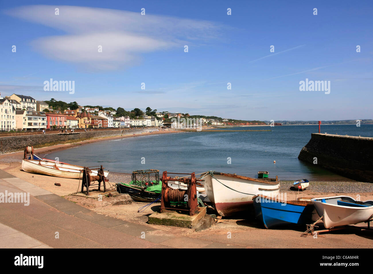 The old harbour and boat landing area at Dawlish in Devon - Stock Image