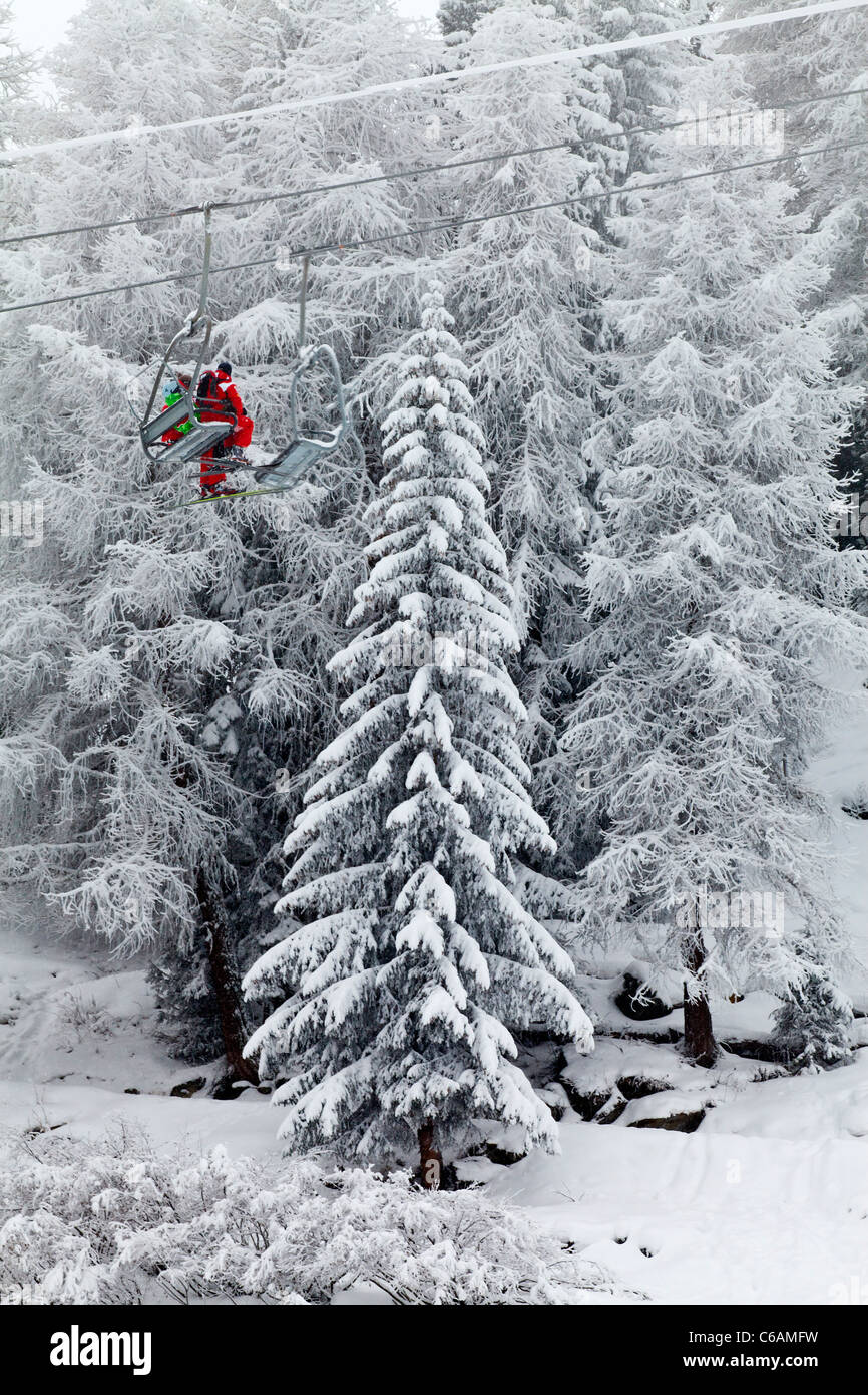 Fresh snow covered alpine trees ski chair lift contrast red skier suit raise ascend travel holiday black white - Stock Image