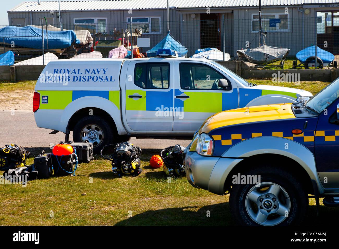 Royal Navy Bomb Disposal HM coastguard vehicle van emergency response diffuse make safe blow up professional army - Stock Image