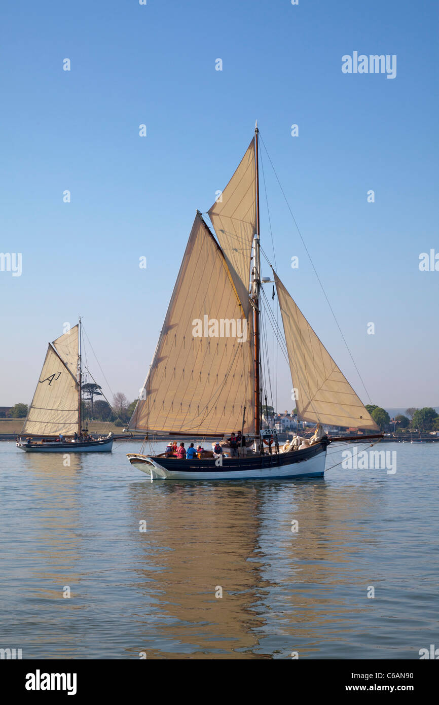 Bristol Channel Sailing Pilot Cutter Gaffer gaff rigged sail calm becalmed still peaceful gentle relaxed slow reflection - Stock Image