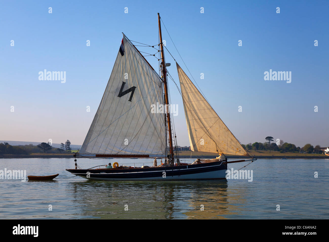 Bristol Channel Sailing Pilot Cutter Gaffer gaff rigged sail calm becalmed still peaceful gentle relaxed reflection - Stock Image