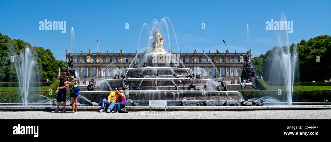 Latona Fountain and Schloss Herrenchiemsee Castle, Herreninsel Upper Bavaria Germany - Stock Image