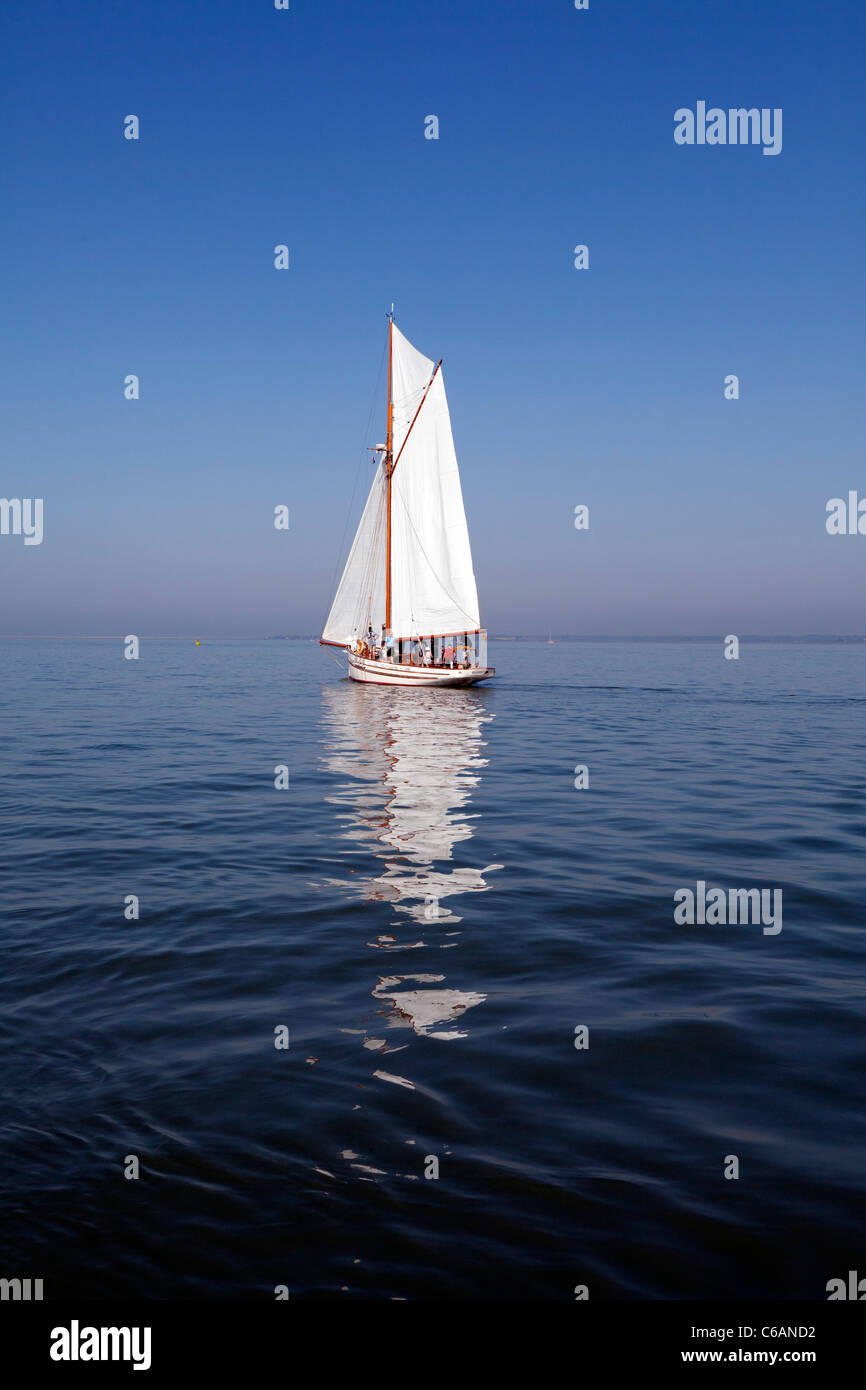 Polly Agatha  Bristol Channel Sailing Pilot Cutter Gaffer gaff rigged sail calm becalmed still peaceful gentle relaxed - Stock Image