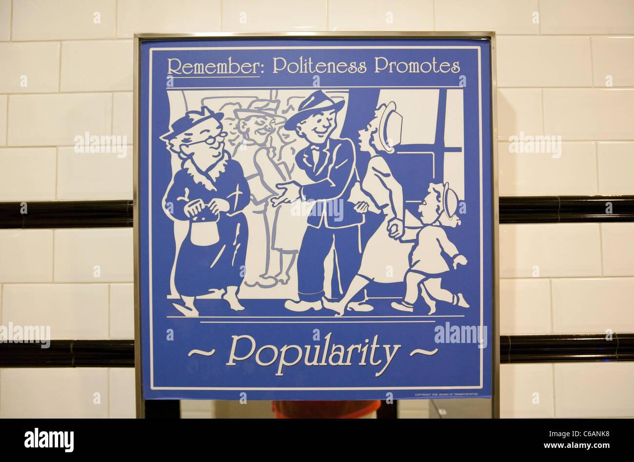Politeness promotes popularity poster, Universal Studios, Singapore Stock Photo