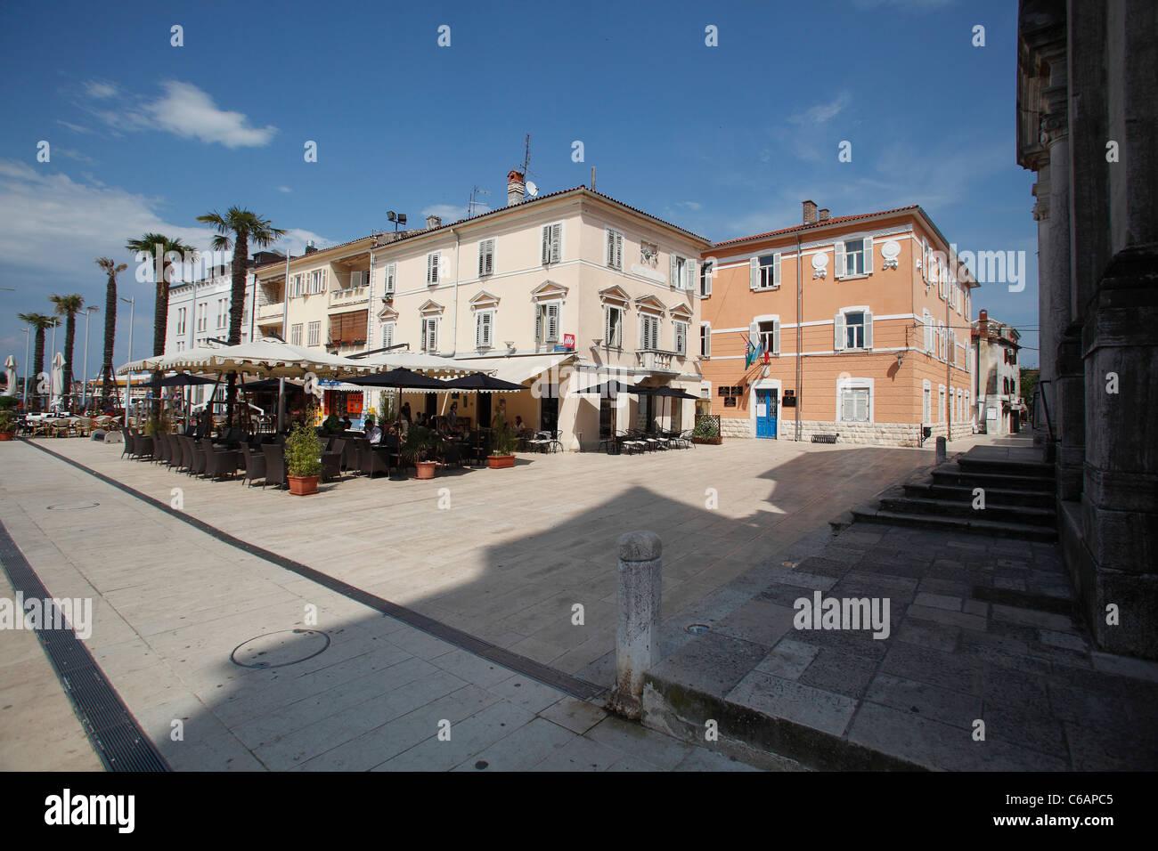 Piazza Slobode Liberta in Umag,Croatia - Stock Image