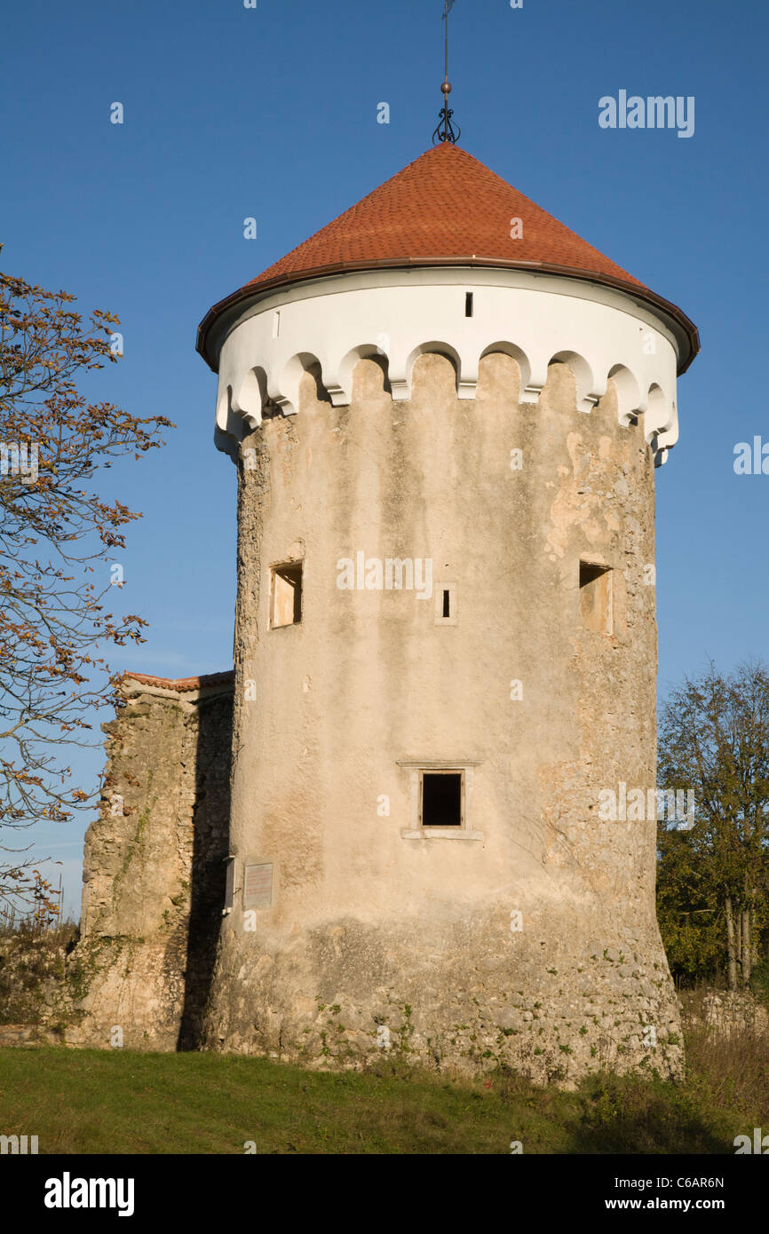 Tower in the Pivka lakes region, Slovenia. - Stock Image