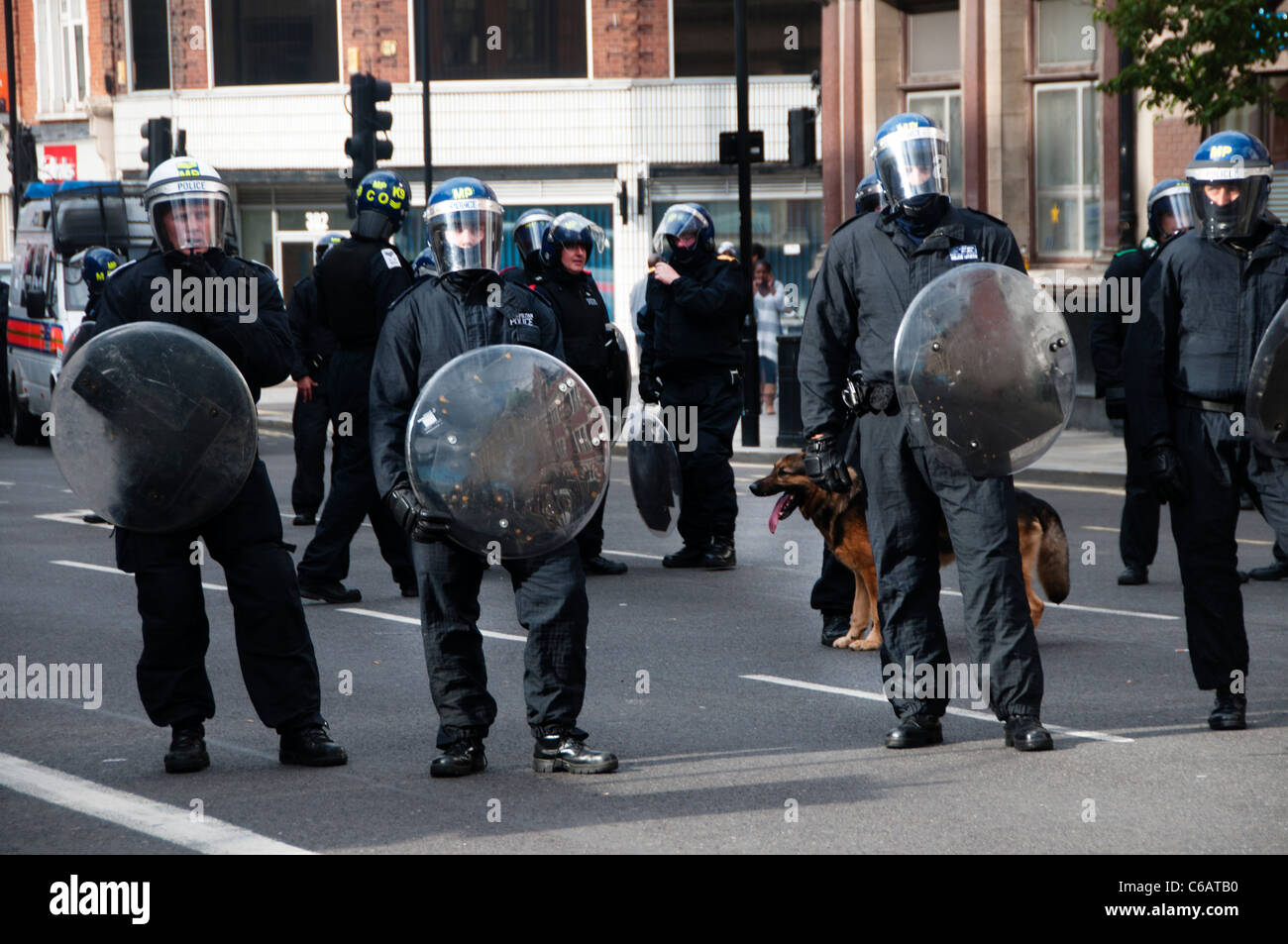 Riot police  with helmets and riot shields and an Alsatian dog on Mare street Hackney during the August 8th 2011 - Stock Image