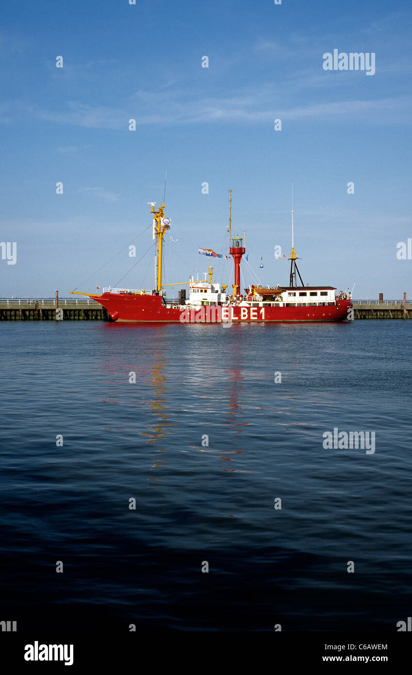Historic Feuerschiff (lightship) ELBE 1 at Alte Liebe in the port of Cuxhaven in Germany's Lower Saxony. - Stock Image