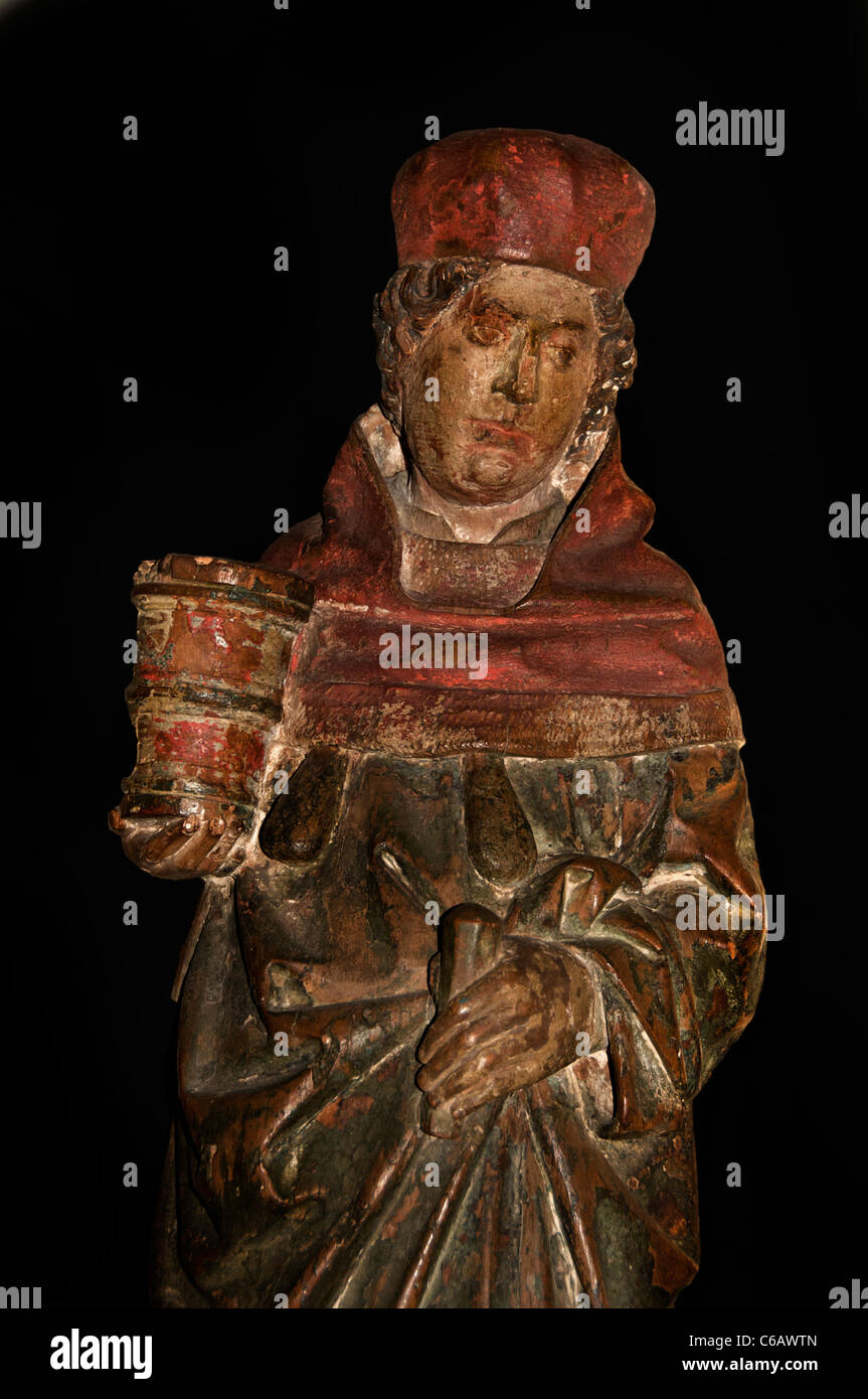 Saint Damian 1475 as Surgeon carries Jar of Ointment Medicine Box or as here Pestle and Mortac North France - Stock Image