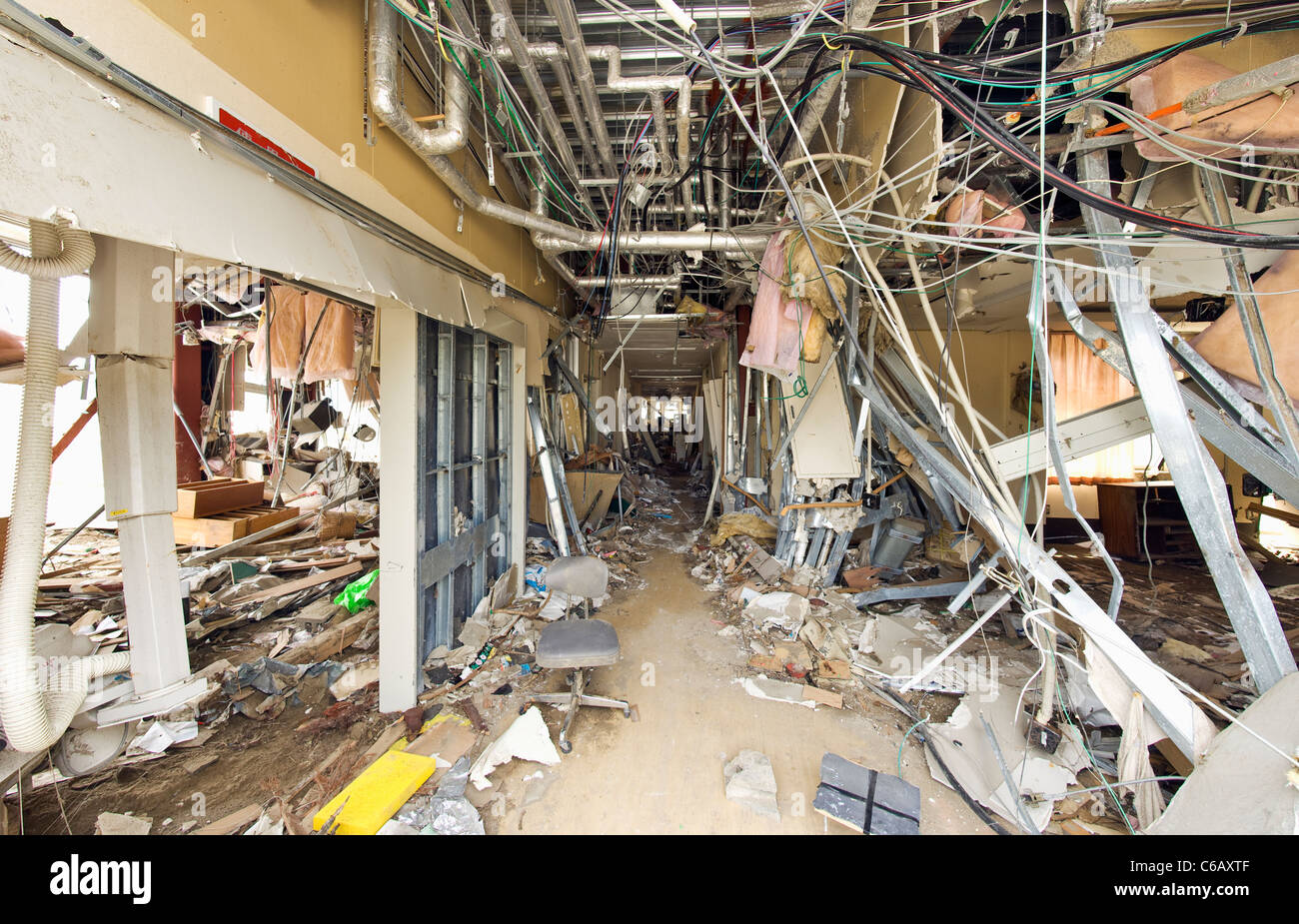 A modern clinic in the town of Taro which was destroyed by the tsunami - Stock Image