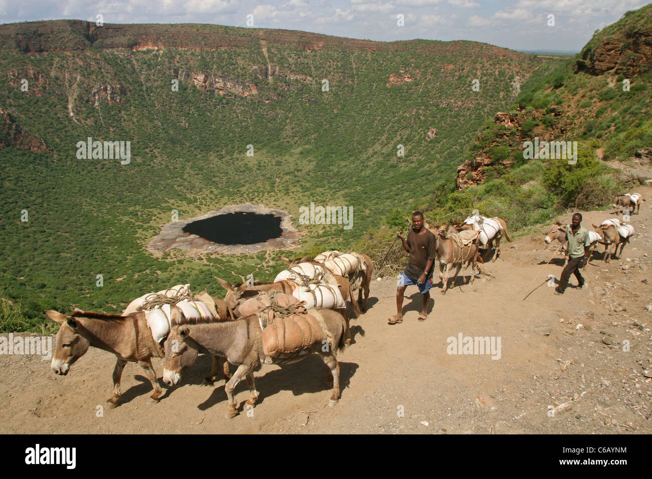 Chew Bet Crater and caravan in Southern Ethiopia - Stock Image