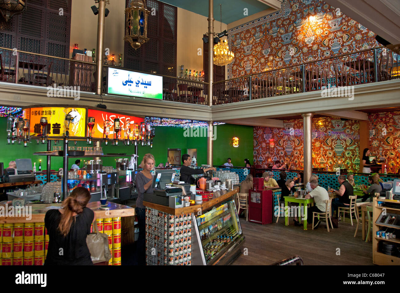 This former church now an Arabic kitsch bar pub café North Africa  African Amsterdam Albert Cuypstraat Cuyp - Stock Image