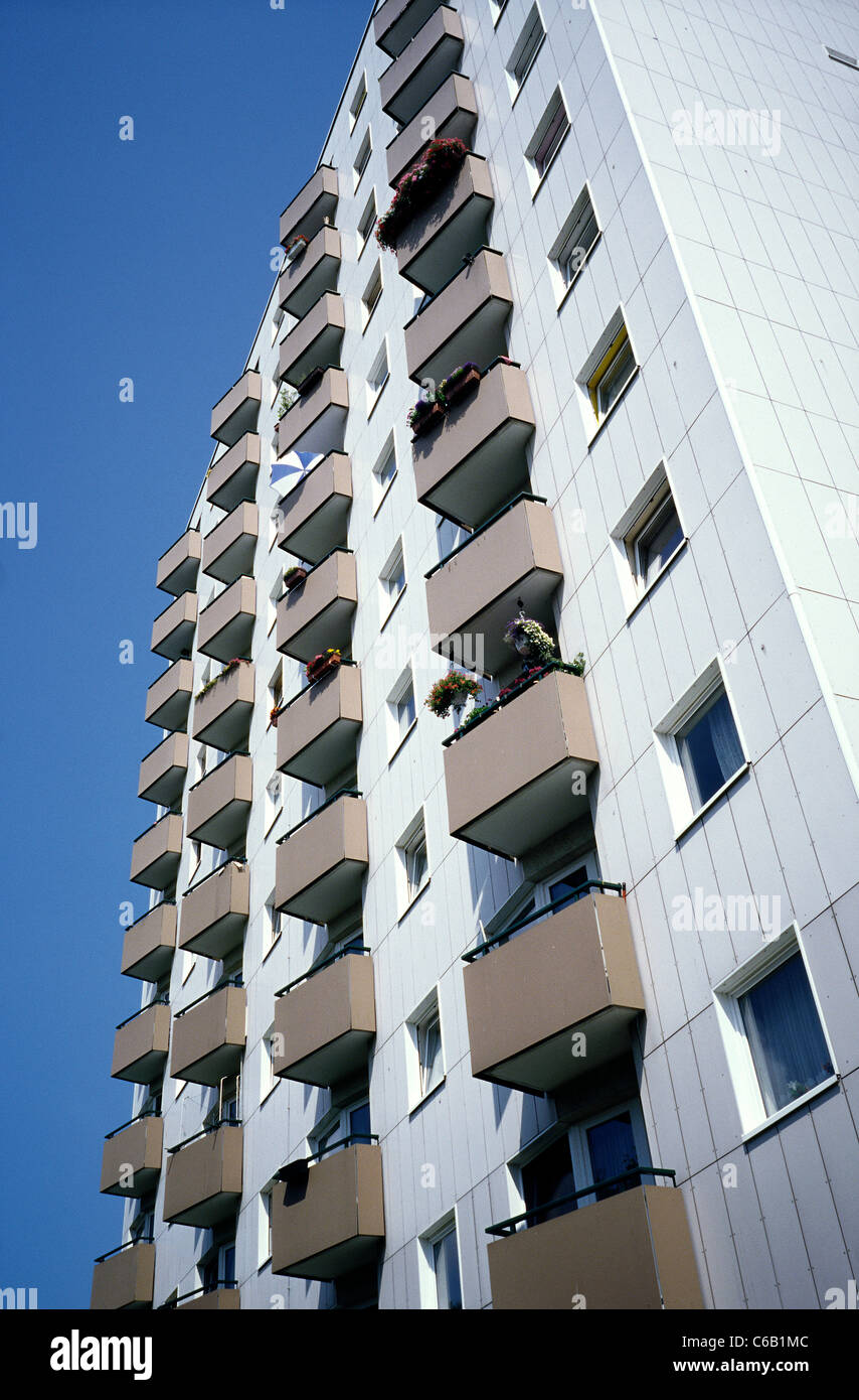 Balconies on an apartment tower in Sankt Pauli district of Hamburg. - Stock Image