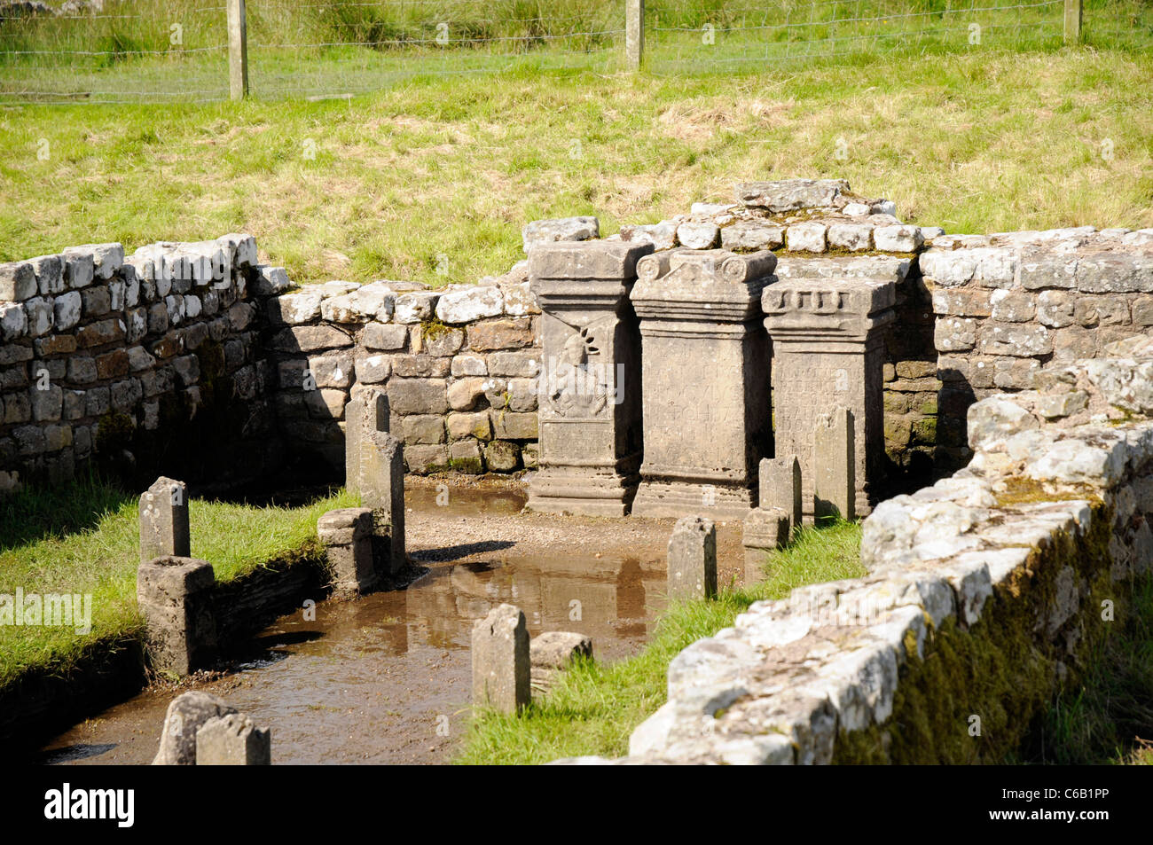 The three 3rd century altars of the Temple of Mithras, Carrawburgh, Hardian's Wall - Stock Image