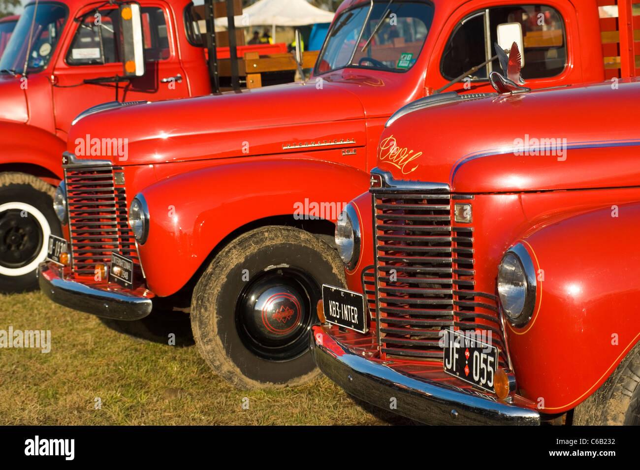 old restored red trucks Stock Photo: 38351798 - Alamy