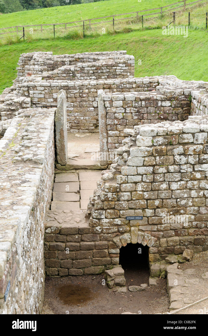 Roman Bath House ruins at Chesters Fort, on Hadrian's Wall, England. - Stock Image