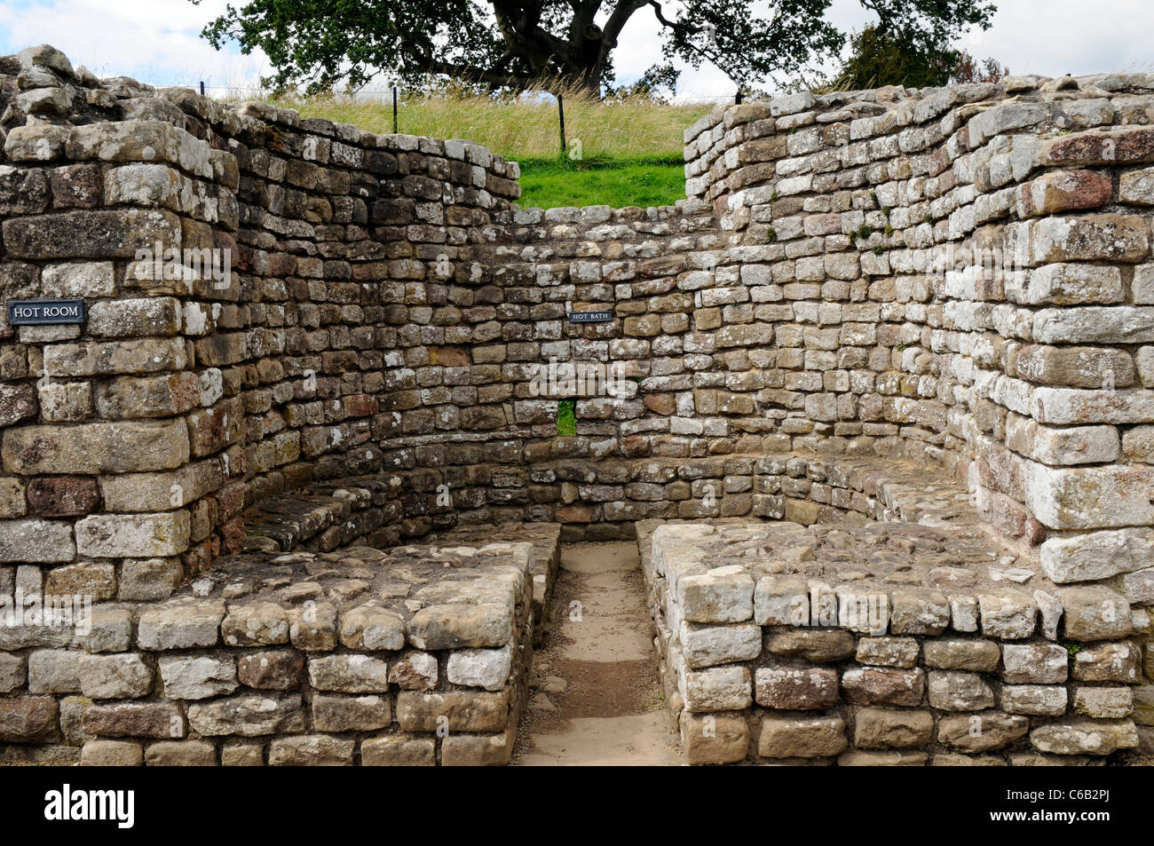The warm room of Roman Bath House  ruins at Chesters Fort, on Hadrian's Wall, England. Stock Photo