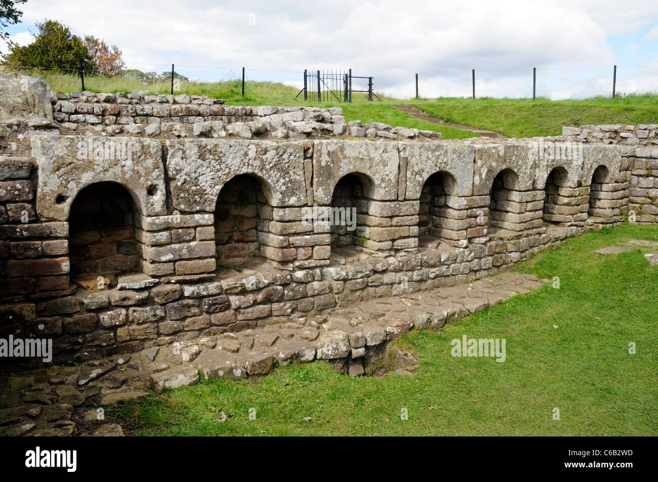 The changing room of Roman Bath House  ruins at Chesters Fort, on Hadrian's Wall, England. - Stock Image